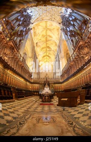 Intérieur de la Séville Catheral et La Giralda, l'UNESCO World Heritage Site, Séville, Andalousie, Espagne, Europe Banque D'Images