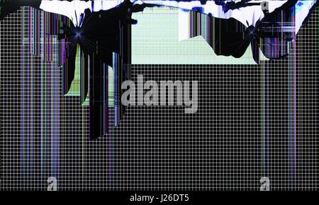 L'écran du téléviseur setis brisée par des tirs de l'arme traumatique. Utilisé du noir et blanc petit test grille Banque D'Images