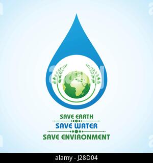 Sauver la terre,l'eau et de l'environnement vecteur stock concept Banque D'Images