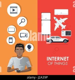 Internet des objets de connexion affiche les éléments du concept Banque D'Images