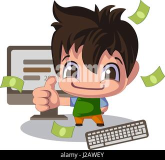 Homme dans un style cartoon, pouce vers le haut. Directeur des ventes ou illustration de jeune programmeur Banque D'Images