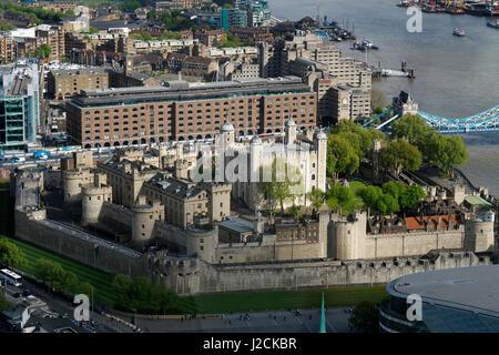 Vue aérienne de la Tour de Londres Banque D'Images
