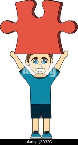 Caricature en couleurs garçon avec pièce de puzzle rouge jusqu' Banque D'Images