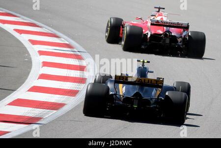 Sochi, Russie. Apr 28, 2017. Une séance d'essai de la Formule 1 2017 russe VTB Grand Prix sur le circuit automobile Banque D'Images