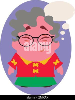 Rire et sourire Vieille Dame Funny Avatar de petit personnage de télévision Vector Banque D'Images