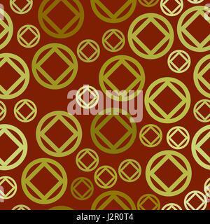 Motif transparent vecteur - cercles jaunes et des losanges Banque D'Images