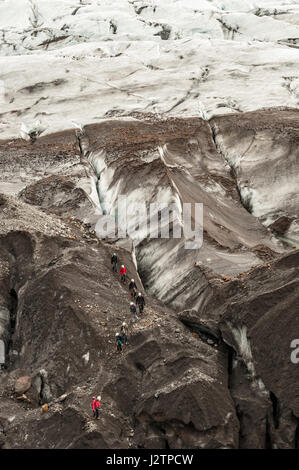 Visite guidée, randonneurs marchant au-dessus d'un glacier, calotte glaciaire, Svinaflsjokull, glacier de sortie du glacier Vatnajokull, Islande.