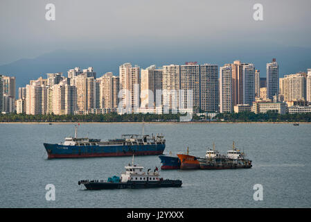Vue horizontale de Sanya, sur l'île de Hainan, Chine.