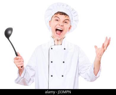 Teen boy wearing uniformes chef Banque D'Images