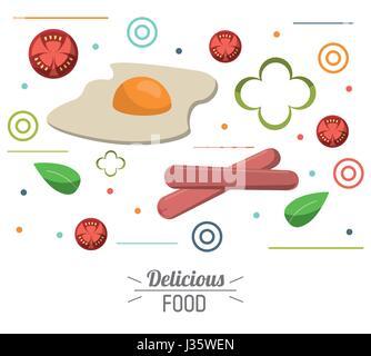 La nourriture délicieuse Tomate saucisses oeufs poster