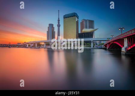 Tokyo. Cityscape image de toits de Tokyo pendant le lever du soleil au Japon. Banque D'Images
