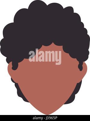 Femme Afro Tête Sans Visage Avatar Vector Illustration