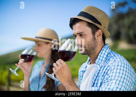 L'homme réfléchi wearing hat tout en sentant le verre à vin rouge Banque D'Images
