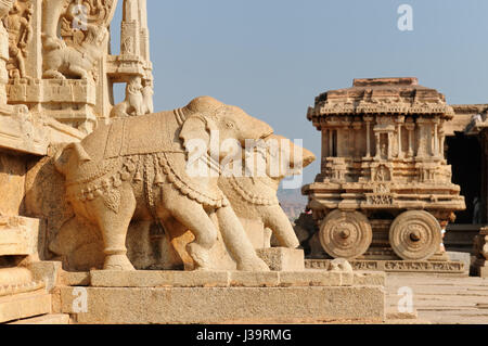 Vittalla temple à Hampi, chariot, Karnataka, Inde Banque D'Images