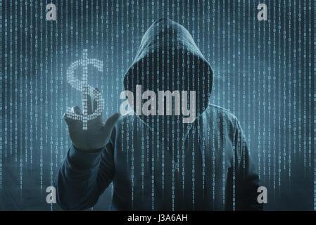Hacker sur un écran avec le code binaire