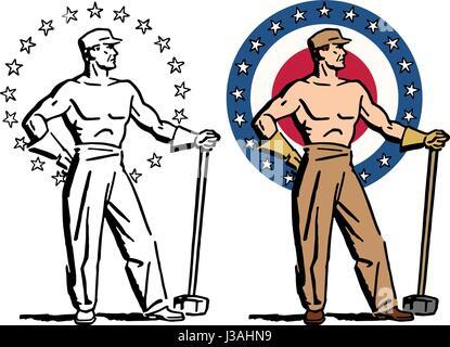 Une icône graphique d'un torse nu, musclé homme fort. Banque D'Images