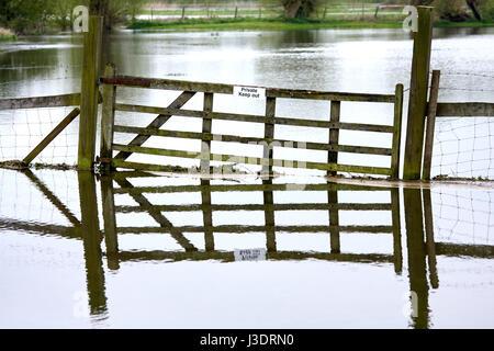 Une porte dans un champ inondé Banque D'Images