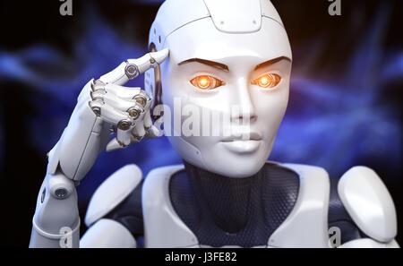 Robot est titulaire d'un doigt près de la tête. 3D illustration Banque D'Images