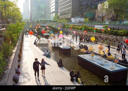 Séoul, Corée du Sud: Cheonggyecheon Stream Lantern Festival Banque D'Images