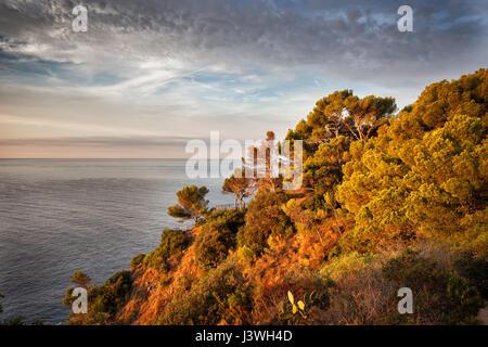 Costa Brava côte de la mer Méditerranée (mer des Baléares) au lever du soleil en Catalogne, Espagne, Europe Banque D'Images