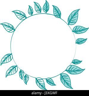Image de silhouette bleu couronne de feuilles décoratives en forme circulaire Banque D'Images