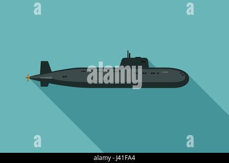 Sous-marin avec long shadow Banque D'Images