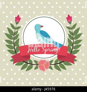 Bonjour printemps carte de souhaits feuilles oiseaux fleurs gerbe étiquette ruban Banque D'Images