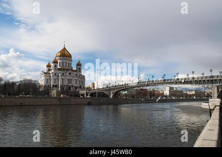 Moscou: la Cathédrale de Christ le Sauveur, la plus grande église chrétienne orthodoxe dans le monde, et le Patriarche Banque D'Images