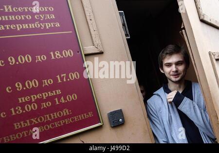 Yekaterinburg, Russie. Le 11 mai, 2017. Le blogueur russe Ruslan Sokolovsky, accusé d'extrémisme et d'insulter les Banque D'Images