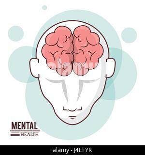 La santé mentale, les droits de l'intelligence de la tête avant la conception du cerveau Banque D'Images