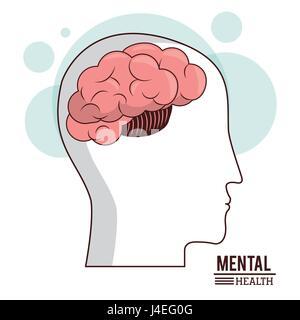 La santé mentale, les droits de la santé de cerveau tête concept médical Banque D'Images