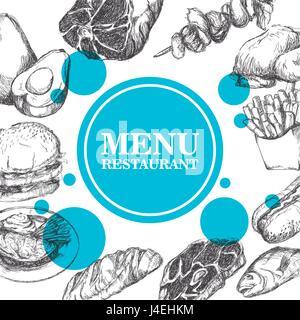 Menu restaurant sketch dessiné à la main produit de viande. vector illustration Banque D'Images