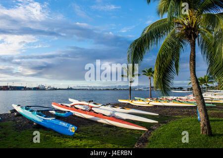 De nombreux kayaks sur la plage de Papeete, Tahiti, Iles de la société, Polynésie Française, Pacifique Banque D'Images