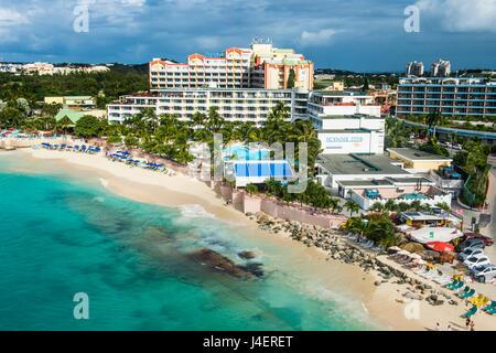 Vue aérienne de Sint Maarten, Antilles, Caraïbes, Amérique Centrale Banque D'Images