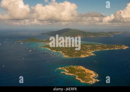 Vue aérienne de Virgin Gorda, îles Vierges britanniques, Antilles, Caraïbes, Amérique Centrale Banque D'Images