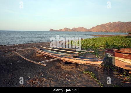 République démocratique du Timor oriental, Dili, plage, outrigger, Banque D'Images