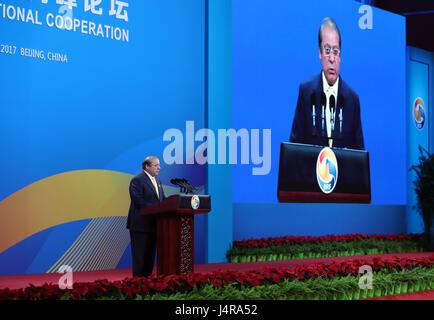 Beijing, Chine. 14 mai, 2017. Le Premier Ministre pakistanais Nawaz Sharif parle à l'assemblée plénière du dialogue de haut niveau à la ceinture et Road Forum (BRF) pour la coopération internationale à Beijing, capitale de Chine, le 14 mai 2017. Credit: Wang Ye/Xinhua/Alamy Live News