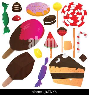 Vector illustration cartoon set de bonbons sur fond blanc. Banque D'Images