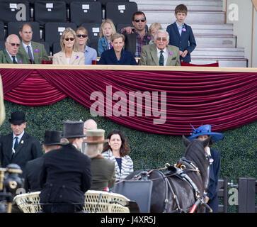 Le comte de Wessex (deuxième à gauche) et la comtesse de Wessex (centre) voir leur fille Lady Louise Windsor au champagne Laurent-Perrier répondre de la conduite de la société au Royal Windsor Horse Show, qui a lieu dans le parc du château de Windsor dans le Berkshire.
