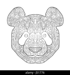 Zentagle ethniques dessinés à la main, orné de la tête de Panda. Noir et blanc Encre Doodle Vector Illustration. Banque D'Images