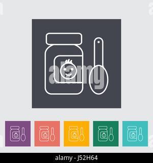 Les aliments pour bébé ligne mince télévision vector icon set connexes pour des applications web et mobiles. Il peut être utilisé comme - pictogramme, icône, élément infographique. Mauvais vecteur