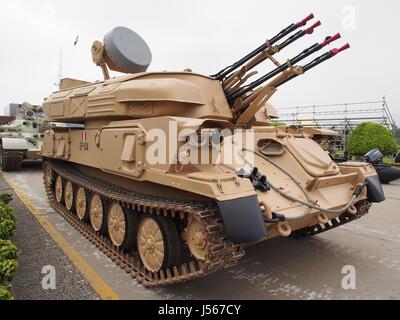 ZSU-23-4 Shilka armée péruvienne au Salon International de la technologie pour la défense, SITDEF 2017, au Siège de l'armée péruvienne. L'événement aura lieu du 18 au 21 mai avec la présence de représentants de 27 pays