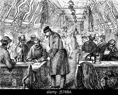 1879: les passagers dans un salon Pullman Wagon dans le Pennsylvania Railroad, la ville de New York à Baltimore, Banque D'Images