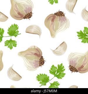 De persil et l'ail. seamless vector pattern Banque D'Images