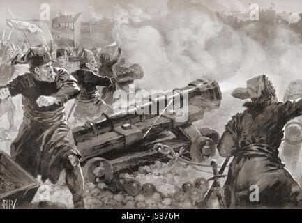 Le siège et la chute de Constantinople par les Turcs en 1453. Après la peinture de John Harris Valda (1874-1942). Banque D'Images