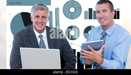 Composite numérique de confiance d'affaires avec des technologies et des graphiques Banque D'Images