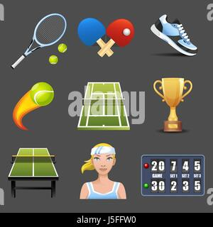 Tennis vector icon set Banque D'Images