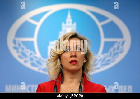 Moscou, Russie. 18 mai, 2017. La porte-parole du Ministère russe des Affaires étrangères, Maria Zakharova donne Banque D'Images