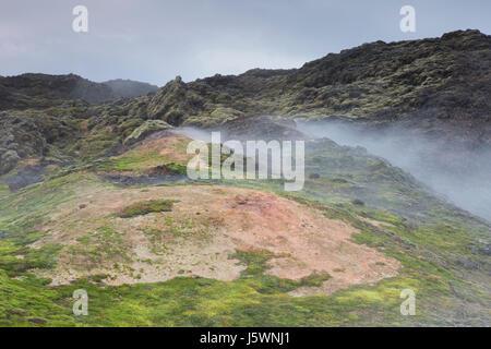 Les fumerolles à Leirhnjukur / Leirhnjúkur, dans le champ de lave Krafla caldera en hiver, boutiques eystra / Nordurland eystra, Nord de l'Islande