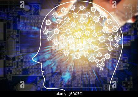L'apprentissage automatique et l'intelligence artificielle concept. Fintech Financial Technology concept. Le cerveau du robot avec codage binaire de vitesse de connexion. Résumé E